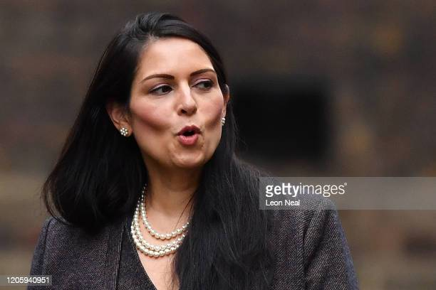 Home Secretary Priti Patel arrives at Downing Street on February 13, 2020 in London, England. The Prime Minister makes adjustments to his Cabinet now...