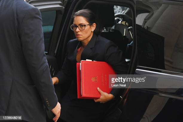 Home Secretary Priti Patel arrives for a cabinet meeting at the FCO on September 22, 2020 in London, England. Boris Johnson met with Cabinet this...