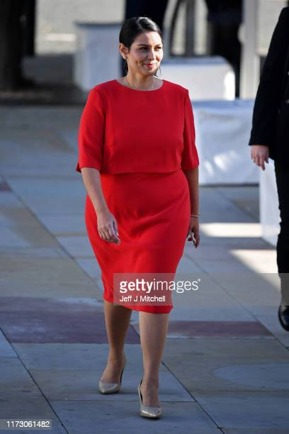 Home Secretary Priti Patel arrives for day four of the 2019 Conservative Party Conference at Manchester Central on October 2 2019 in Manchester...