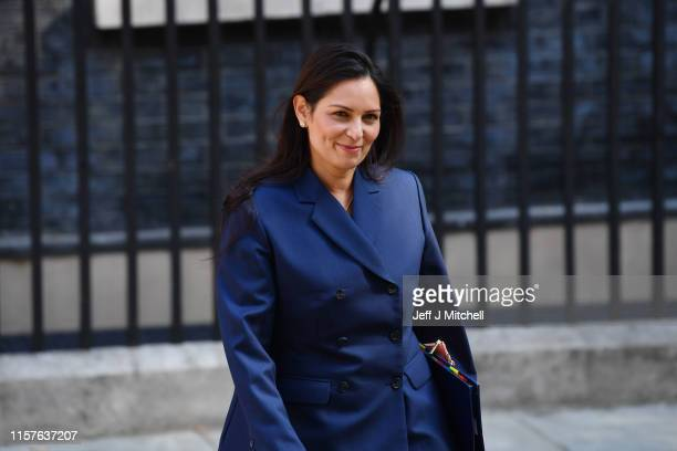 Home Secretary Priti Patel leaves 10 Downing Street following the first cabinet meeting with new Prime minister Boris Johnson on July 25, 2019 in...