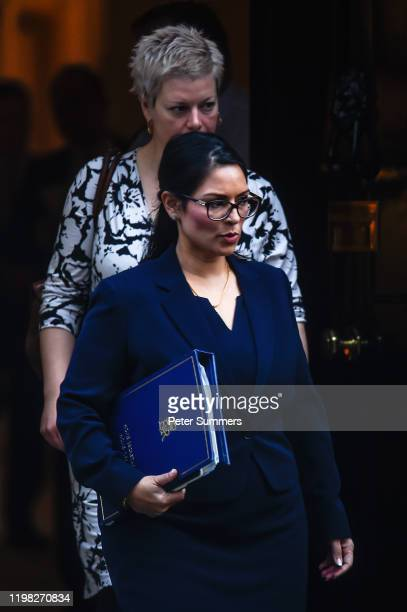 Home Secretary Priti Patel leaves 10 Downing Street on February 3, 2020 in London, England. Mrs Patel has called for tougher measures regarding the...