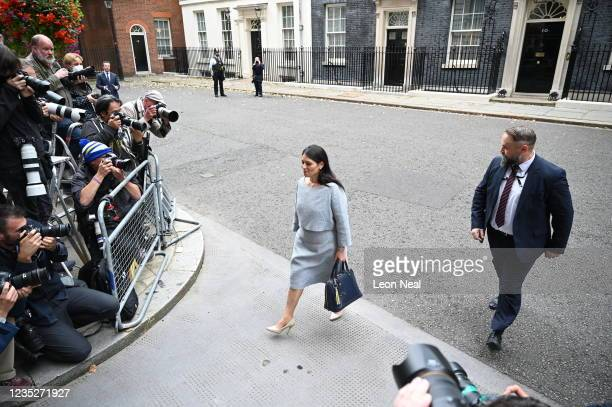 Home Secretary Priti Patel leaves Downing Street on September 15, 2021 in London, England. The British prime minister replaced several cabinet...