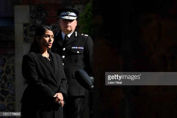 Home Secretary, Priti Patel makes a statement to the media at Forbury Gardens on June 22, 2020 in Reading, England. Khairi Saadallah, a 25-year-old...