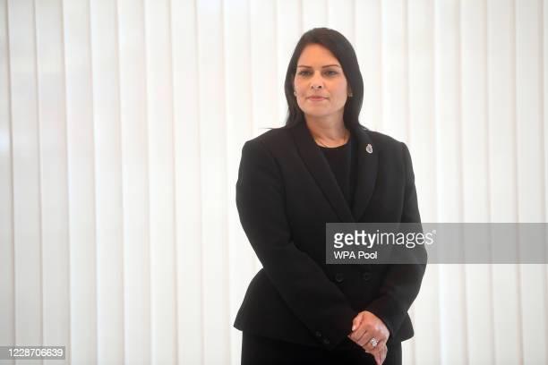 Home Secretary Priti Patel observes a minute's silence inside the atrium at Scotland Yard on September 25, 2020 in London, England. A murder...