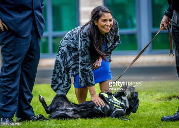 Home Secretary Priti Patel visits The North Yorkshire police with Prime Minster Boris Johnson and are introduced to recently graduated Police...