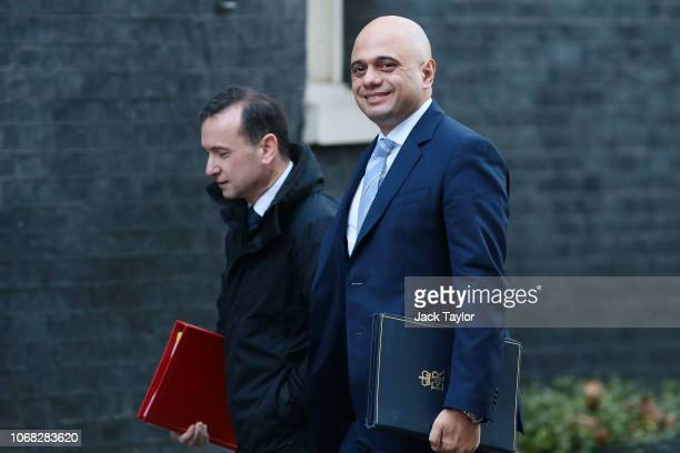 Home Secretary Sajid Javid and Wales Secretary Alun Cairns arrive at 10 Downing Street as Ministers attend a weekly cabinet meeting ahead of a...