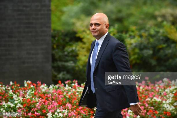 Home Secretary Sajid Javid arrives for a weekly meeting of cabinet ministers at number 10 Downing Street in London on October 16 2018 Prime Minister...