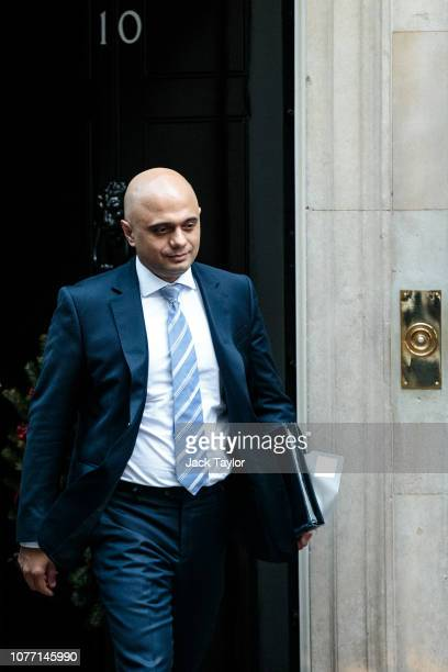 Home Secretary Sajid Javid leaves 10 Downing Street after Government Ministers attended a weekly cabinet meeting ahead of a meaningful vote debate on...