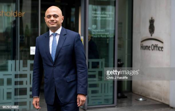 Home Secretary Sajid Javid walks out of the Home Office for a brief photo opportunity on April 30 2018 in London England Sajid Javid has been...