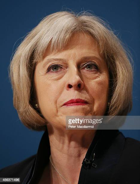 Home Secretary Theresa May addresses the Conservative party conference on September 30 2014 in Birmingham England The third day of conference will...