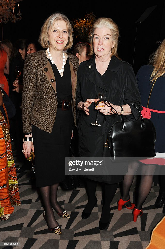 Home Secretary Theresa May and Dame Marjorie Scardino attend the Veuve Clicquot Business Woman Award 2013 at Claridge's Hotel on April 22, 2013 in London, England.