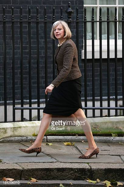 Home Secretary Theresa May arrives at Number 10 Downing Street to attend the weekly Cabinet meeting on October 16 2012 in London England Home...