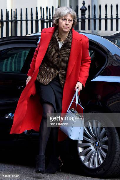 Home Secretary Theresa May arrives for the weekly cabinet meeting chaired by British Prime Minister David Cameron at Number 10 Downing Street on...