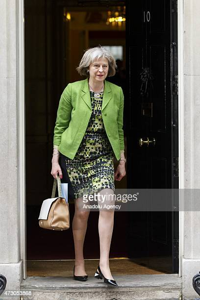 Home Secretary Theresa May attends the first Conservative cabinet meeting after the 2015 general election in Downing Street in London England on May...