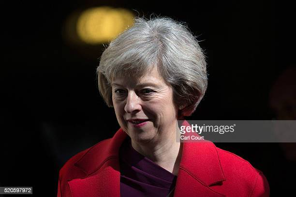 Home Secretary Theresa May leaves after a cabinet meeting at 10 Downing Street on April 12 2016 in London England Prime Minister David Cameron will...