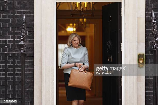Home Secretary Theresa May leaves Downing Street after the weekly cabinet meeting on July 13 2010 in London England The Cabinet is likely to discuss...