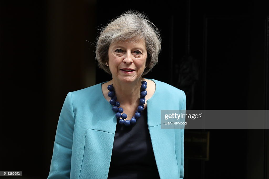 Home Secretary Theresa May leaves Downing Street following a cabinet meeting on June 27, 2016 in London, England. British Prime Minister David Cameron chaired an emergency Cabinet meeting this morning, after Britain voted to leave the European Union. Chancellor George Osborne spoke at a press conference ahead of the start of financial trading and outlining how the Government will 'protect the national interest' after the UK voted to leave the EU.