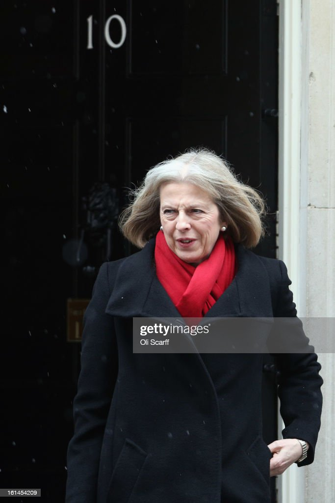 Home Secretary Theresa May leaves Number 10 Downing Street on February 11, 2013 in London, England. Owen Paterson, the Secretary of State for Environment, Food and Rural Affairs, has warned that tests which are currently being carried out on processed beef products may indicate further presence of horse DNA.