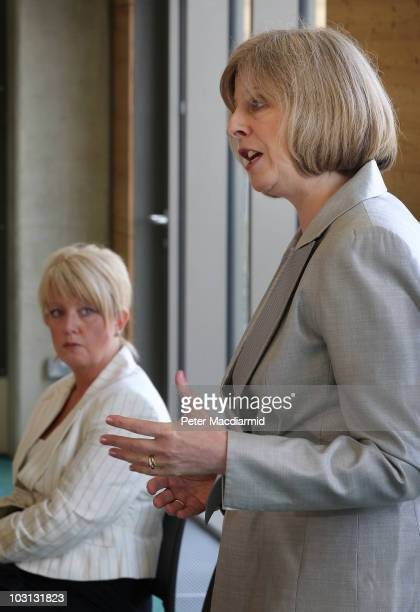 Home Secretary Theresa May speaks about anti social behaviour as Baroness Newlove looks on on July 28 2010 in London England Speaking to community...