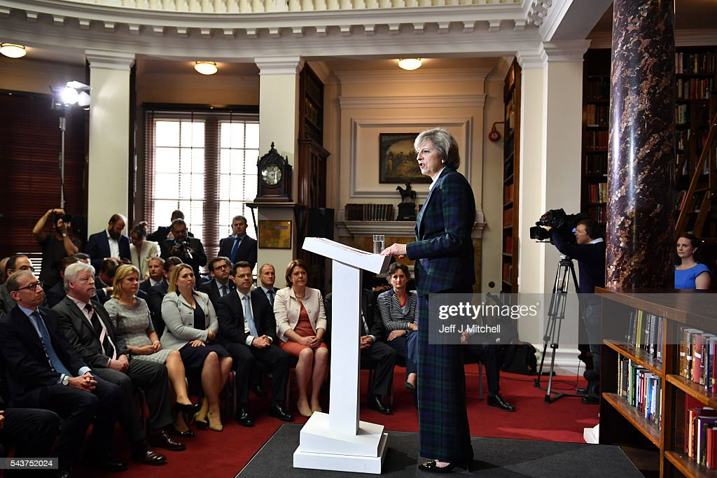 Home Secretary Theresa May Launches Her Bid For The Conservative Leadership : News Photo