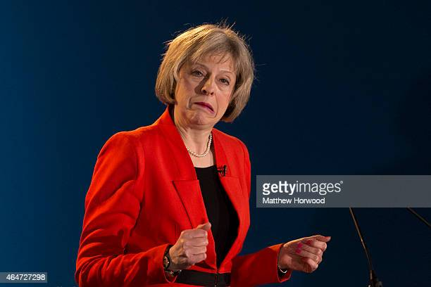Home Secretary Theresa May speaks during day two of the Welsh Conservative Party Conference at the SWALEC Stadium on February 28 2015 in Cardiff...