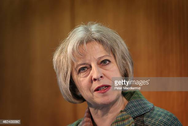 Home Secretary Theresa May speaks to delegates at the International Police and Crime Conference on January 28 2015 in London England Last year...