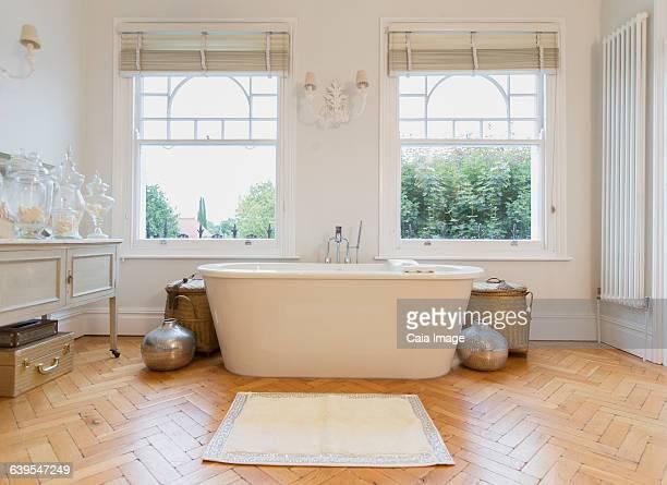 Home showcase interior bathtub and parquet floor