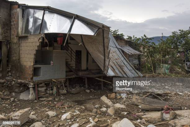 A home stands destroyed after a landslide in the Miraflores neighborhood of Mocoa Putumayo Colombia on Monday April 3 2017 Torrential rains caused...