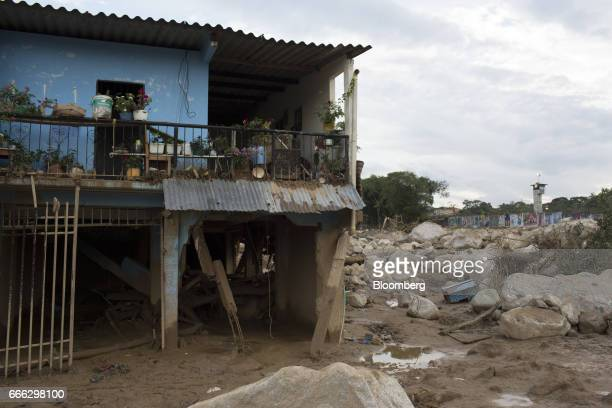 A home stands destroyed after a landslide in the San Miguel neighborhood of Mocoa Putumayo Colombia on Monday April 3 2017 Torrential rains caused...