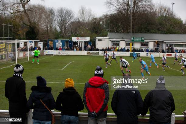 Home supporters watching the firsthalf action as Atherton Collieries played Boston United in the FA Trophy third qualifying round at the Skuna...