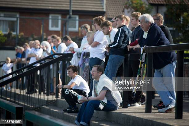 Home supporters watching the first-half action as Marine Football Club , play Ilkeston FC in a Northern Premier League premier division match. The...