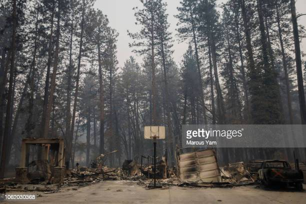 Home surrounded by forest is destroyed by the Camp Fire in Paradise, Calif., on Nov. 15, 2018.