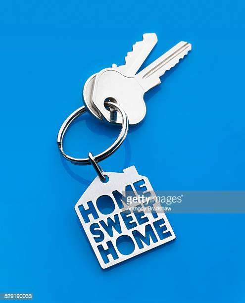 Home sweet home keyring on blue
