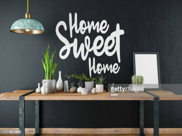 home sweet home sign with table and decors - home sweet home stock pictures, royalty-free photos & images
