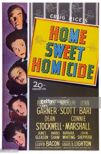 Home Sweet Homicide poster US poster art from top Randolph Scott Lynn Bari Peggy Ann Garner Connie Marshall Dean Stockwell 1946