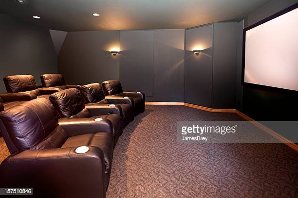 home theater room, leather recliners, movie screen, hdtv, surround sound - entertainment center stock pictures, royalty-free photos & images