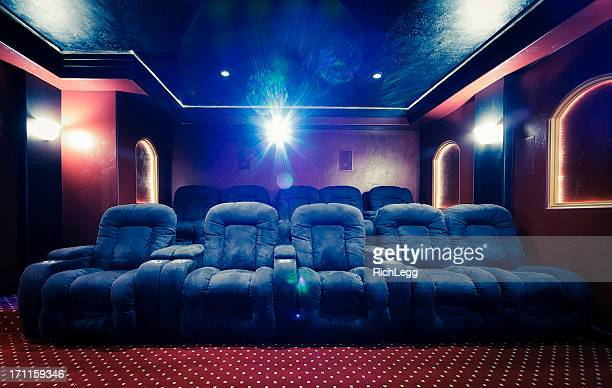 home theater room with lens flare - entertainment center stock pictures, royalty-free photos & images