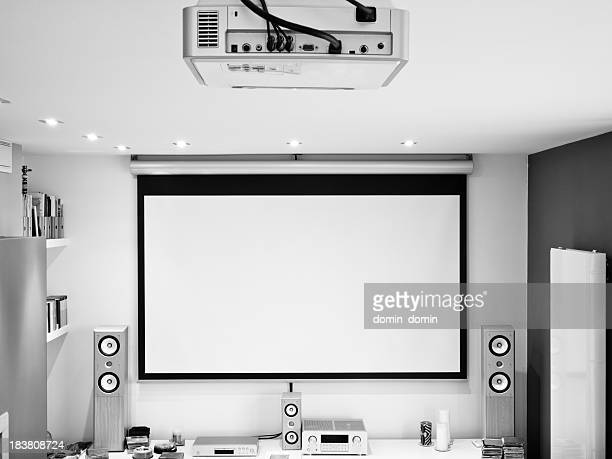 home theater system, hd projector, large screen, hifi sound system - entertainment center stock pictures, royalty-free photos & images