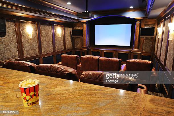 home theater with focus on screen - entertainment center stock pictures, royalty-free photos & images