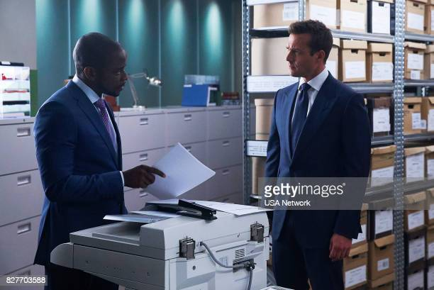 SUITS 'Home to Roost' Episode 706 Pictured Dulé Hill as Alex Williams Gabriel Macht as Harvey Specter