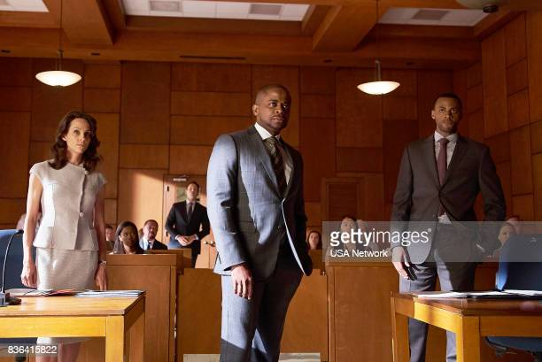 SUITS 'Home to Roost' Episode 706 Pictured Sarah MurphyDyson as Ms Sterling Dulé Hill as Alex WIlliams Jordan JohnsonHinds as Oliver Grady