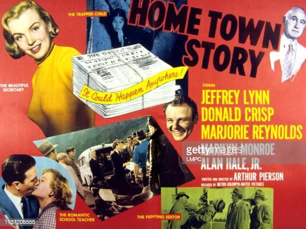 Home Town Story lobbycard Marilyn Monroe Jeffrey Lynn Marjorie Reynolds Alan Hale Jr Donald Crisp 1951
