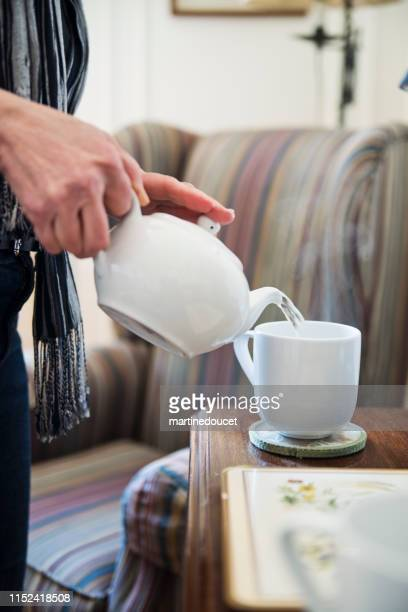 "60+ home working professional woman serving tea - ""martine doucet"" or martinedoucet bildbanksfoton och bilder"
