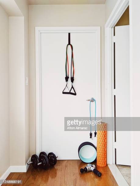 home workout equipment - sports equipment stock pictures, royalty-free photos & images