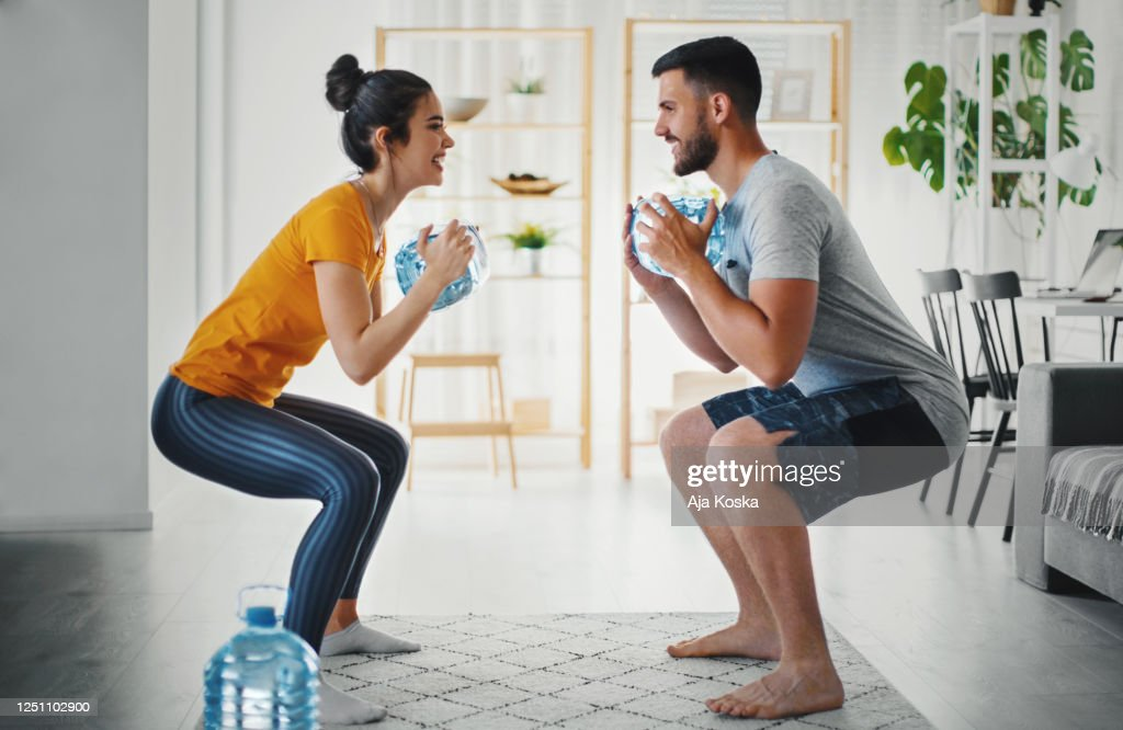 Home workout. : Stock Photo