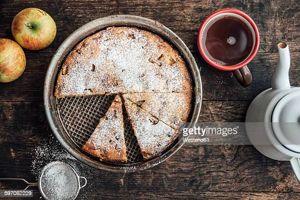 home-baked apple pie and cup of black tea - icing sugar stock pictures, royalty-free photos & images