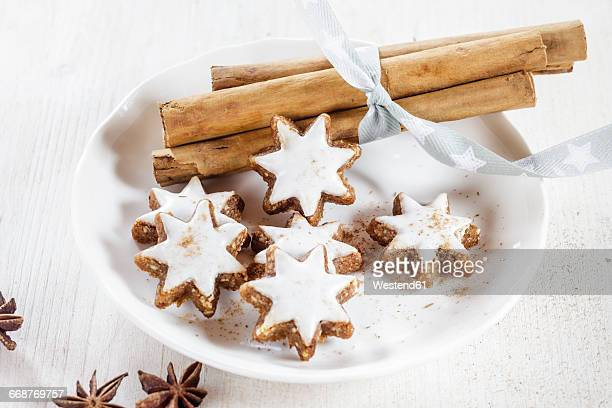 Home-baked Christmas cookies, cinnamon stars, star anise