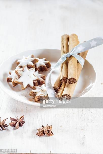 Home-baked Christmas cookies, cinnamon stars, star anise