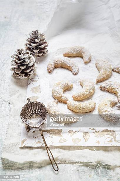 Home-baked Christmas cookies, vanilla crescent cookies