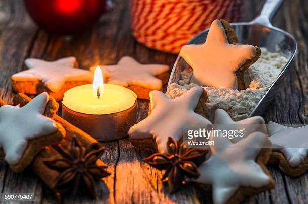 Home-baked cinnamon stars by candle light